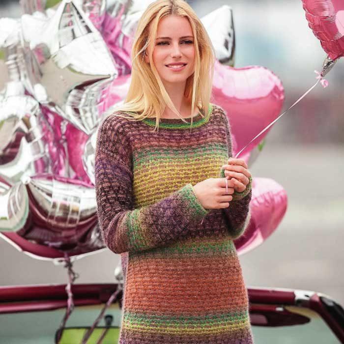 Вязание для женщин. Разноцветный пуловер спицами