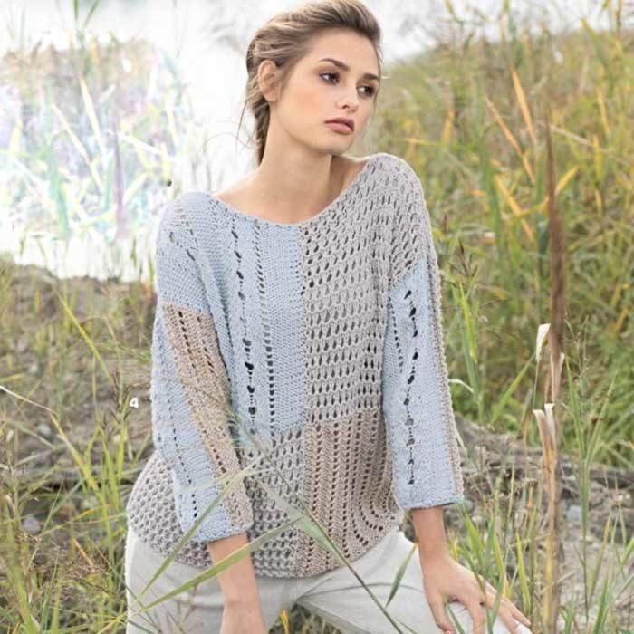 Вязание для женщин. Пуловер в стиле пэчворк