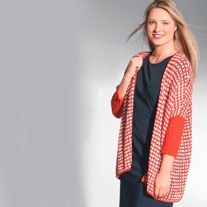 Вязание для женщин. Кардиган оверсайз в красно-белую полоску