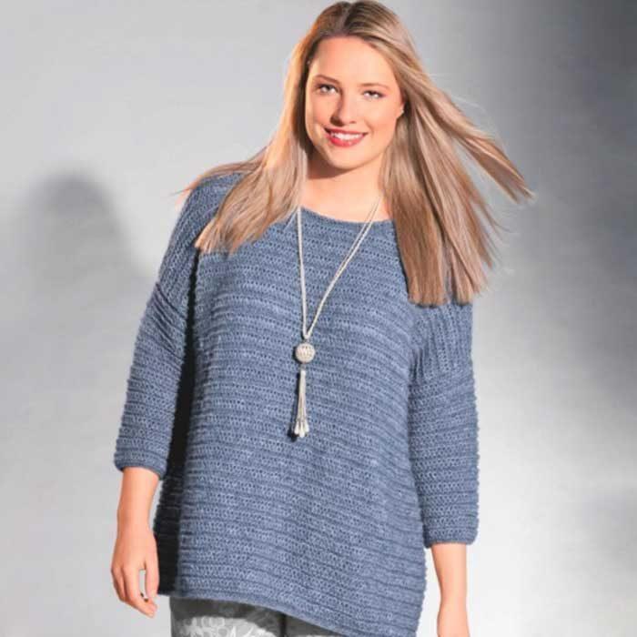 Вязание для женщин. Серый пуловер, связанный ребристым узором