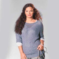 Вязание для женщин. Серый пуловер, связанный ажурным узором