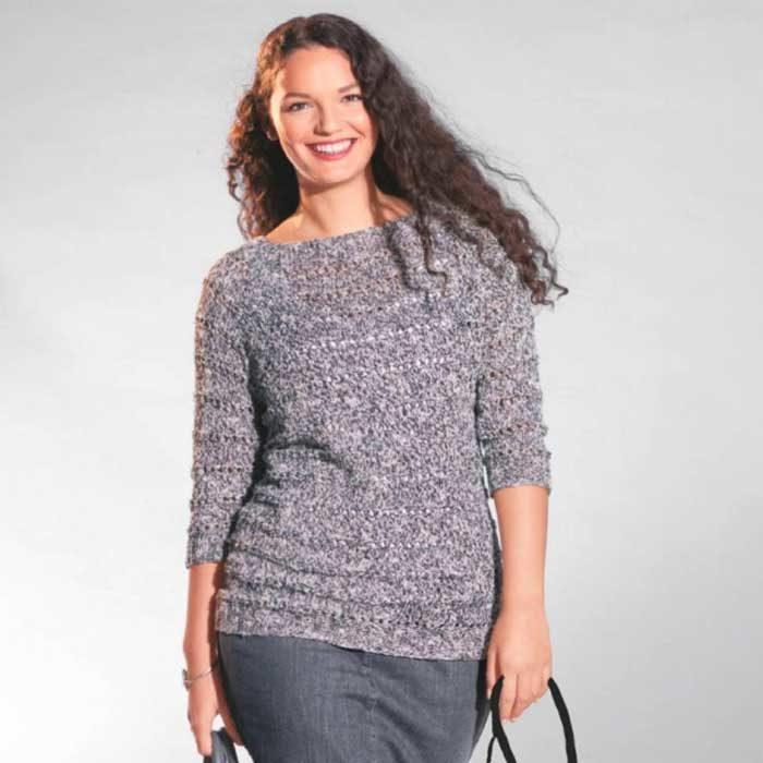 Вязание для женщин. Черно-белый пуловер из меланжевой пряжи