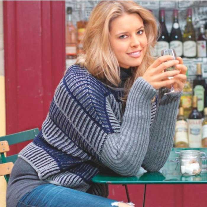 Вязание для женщин. Пуловер с двухцветным патентным узором