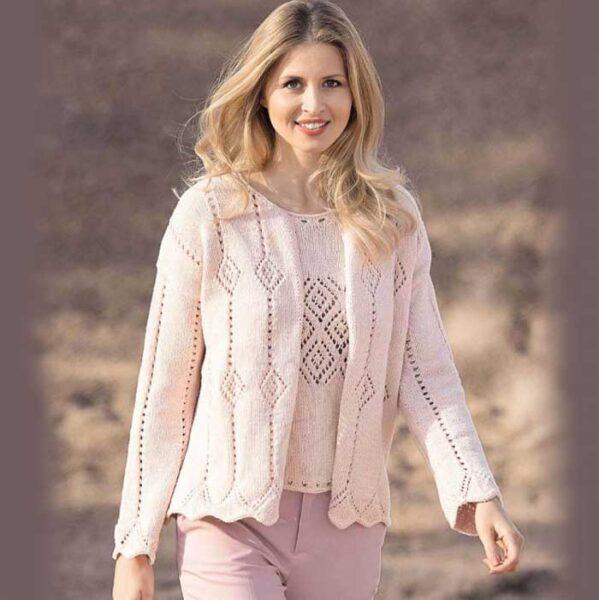 Вязание для женщин. Жакет и топ спицами розового цвета