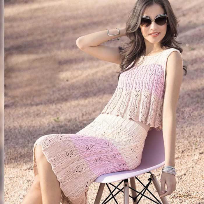 Вязание для женщин.Топ и юбка спицами в пастельных тонах