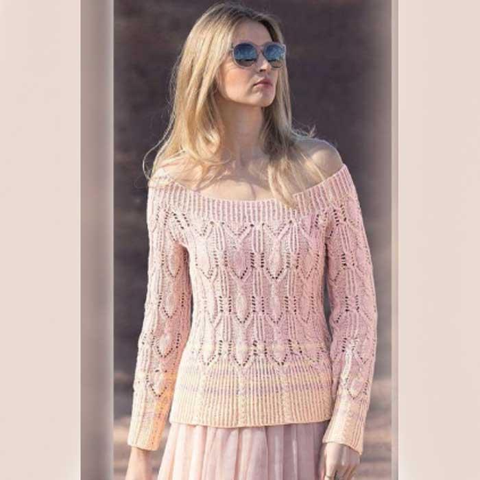 Вязание для женщин. Пуловер с ажурным узором из «кос» спицами