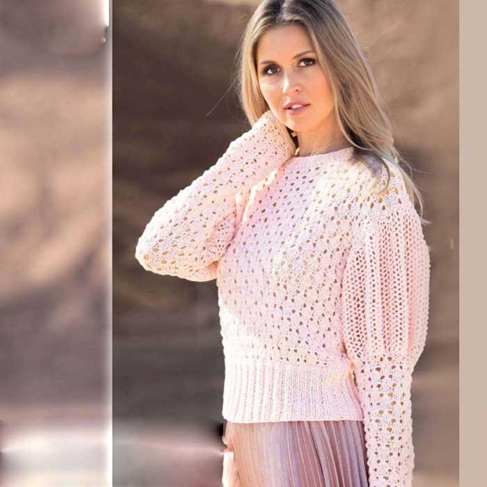 Вязание для женщин. Пуловер спицами с рукавами буф