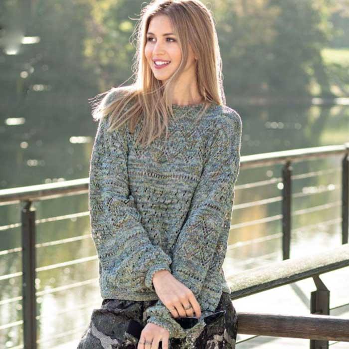 Вязание для женщин. Пуловер с сочетанием узоров