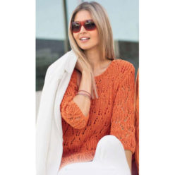 Вязание для женщин. Пуловер спицами кораллового цвета