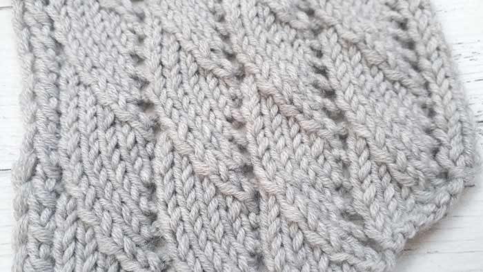Красивый диагональный узор спицами для шарфа, снуда, схема + видео как связать