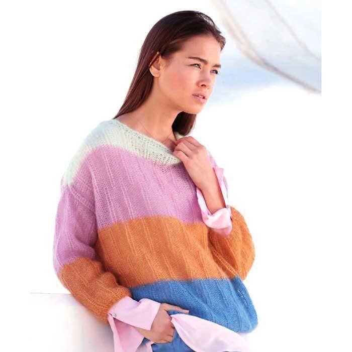 Вязание для женщин. Пуловер спицами со смещенной резинкой