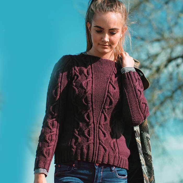 Вязание для женщин. Пуловер спицами с косами