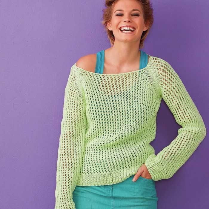 Вязание для женщин. Пуловер спицами сетчатый