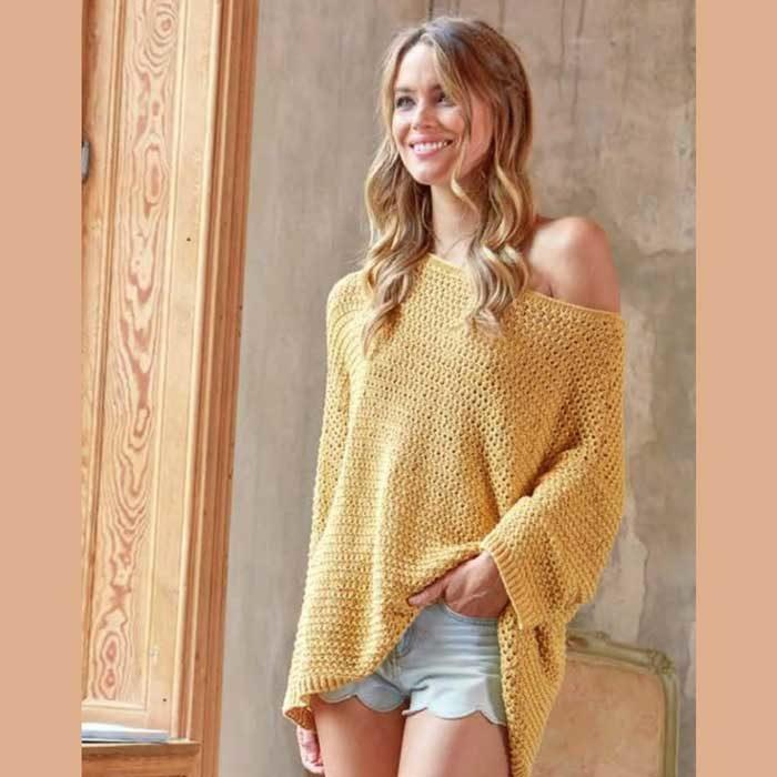 Вязание для женщин. Пуловер спицами оверсайз.