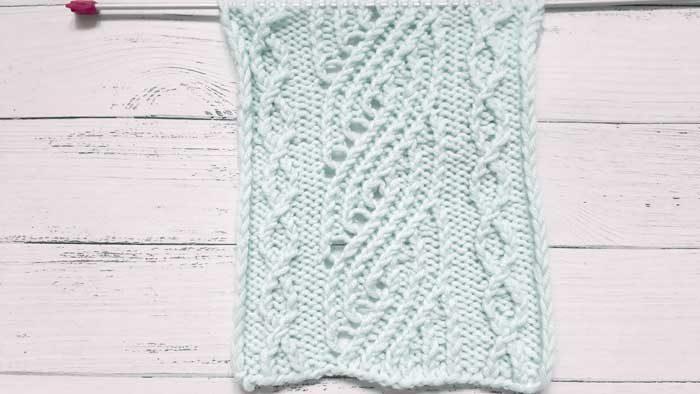 Красивый ажурный рельефный узор спицами, схема узора