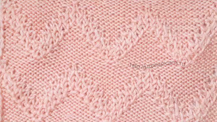 Красивый узор спицами Зигзаг из сот, схема узора