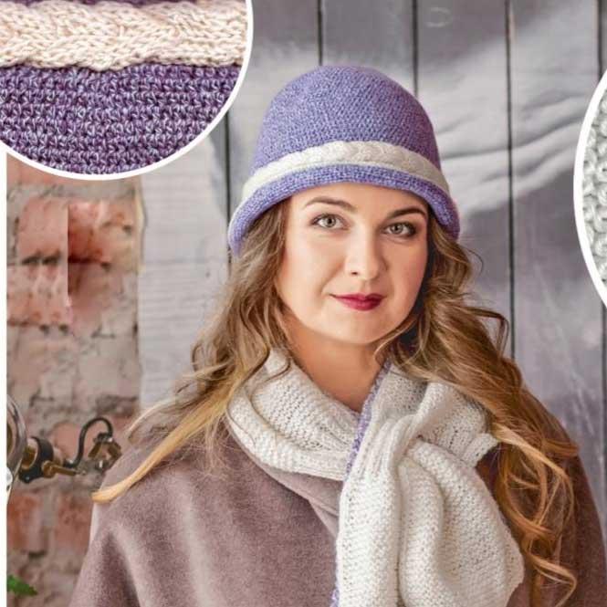 Вязание для женщин. Шляпка спицами и шарф спицами с декоративной косичкой