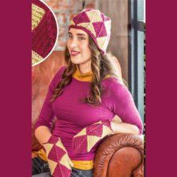Вязание для женщин. Шапка и варежки спицами в технике пэчворк