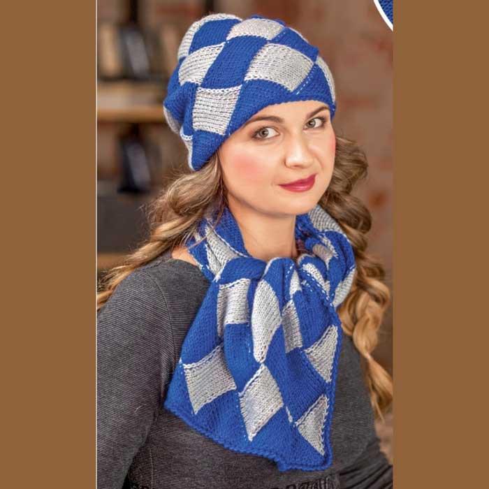 Вязание для женщин. Шапка и шарф в технике энтрелак спицами
