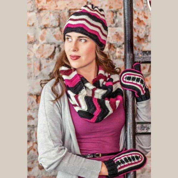 Вязание для женщин. Шапка, снуд и варежки крючком