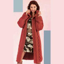 Вязание для женщин. Пальто из альпаки спицами