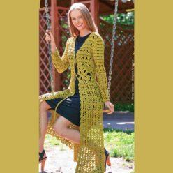 Вязание для женщин. Фисташковое летнее пальто крючком