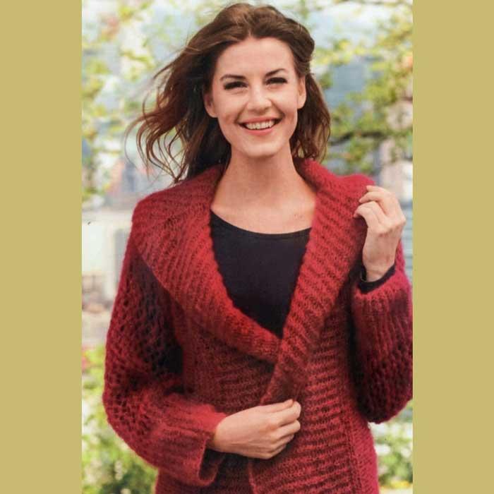 Вязание для женщин. Жакет спицами с ажурными рукавами