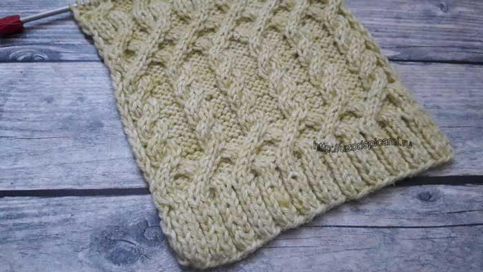 Красивый узор спицами для пуловера, кардинага, схема узора