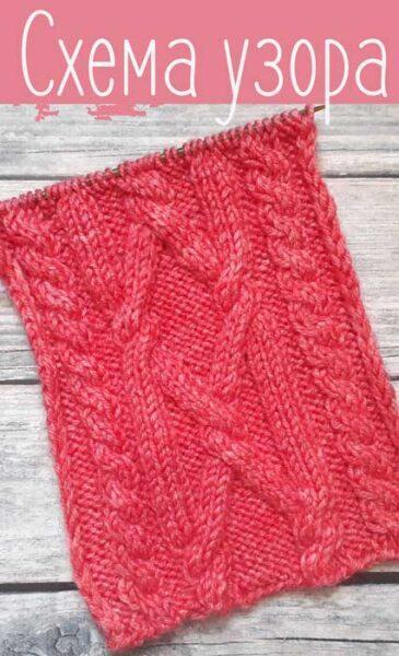 Красивый узор спицами косы для пуловера, схема узора