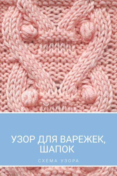 Узор спицами для варежек, шапки, схема узора