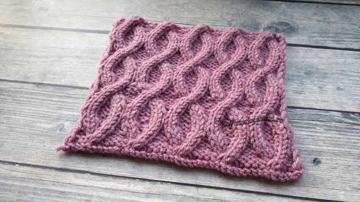 Красивый узор спицами для шапки, снуда, шарфа, схема узора