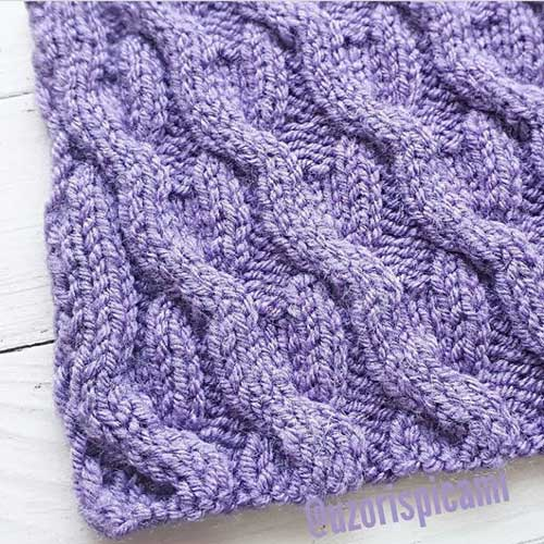 Красивый рельефный узор спицами для пуловера, жакета, схема узора