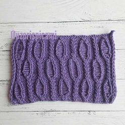 Красивый простой ажурный узор спицами для пуловера, жакета, схема узора