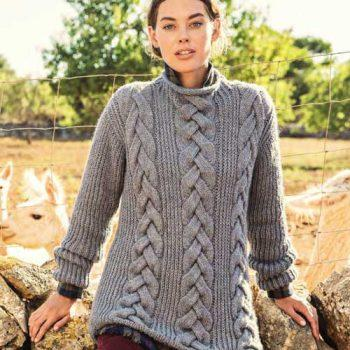 Вязание для женщин, Пуловер спицами с косами и полупатентным узором