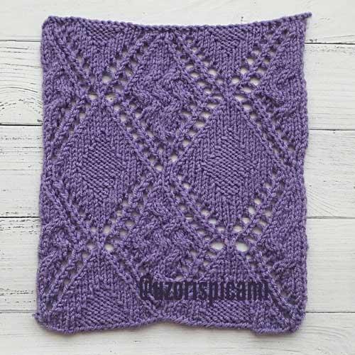 Красивый ажурный рельефный узор спицами для пуловера, пледа, схема узора