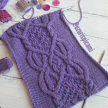 Красивый арановый узор спицами для пуловера, жакета, шарфа, схема узора