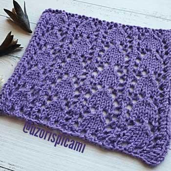 Красивый узор спицами для пуловера, палантина, схема узора