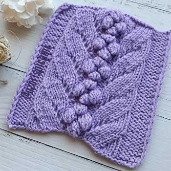 Красивый простой ажурный узор с нуппами для пуловера