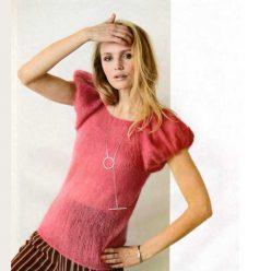 Вязание для женщин. МОХЕРОВЫЙ ТОП СПИЦАМИ С РУКАВАМИ-ФОНАРИКАМИ