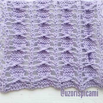 Простой ажурный узор спицами для пуловера, шарфа, схема узора