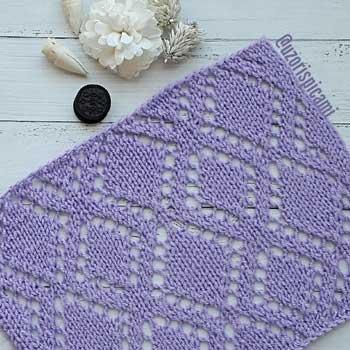 Красивый простой ажурный узор из ромбов для пуловера, жакета, схема узора