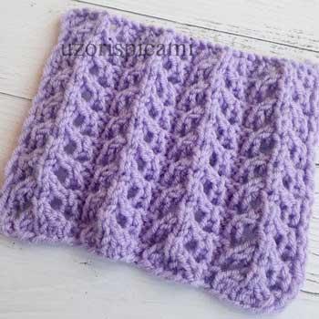 Простой ажурный узор для топа, пуловера, схема узора
