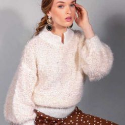 Вязание для женщин. Пуловер спицами с широкими рукавами