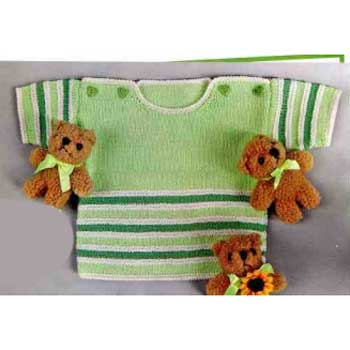 Вязание для малышей. Светло-зеленый пуловер спицами в полоску