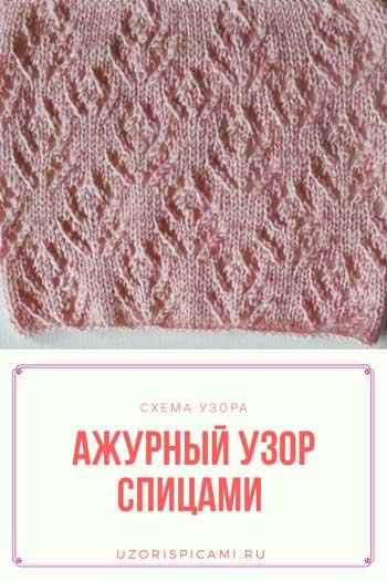 Нежный ажурный узор спицами, схема узора