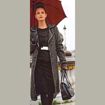 Вязание для женщин. Пальто спицами с лацканами