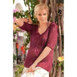 Вязание для женщин. Приталенный пуловер спицами с центральной полосой