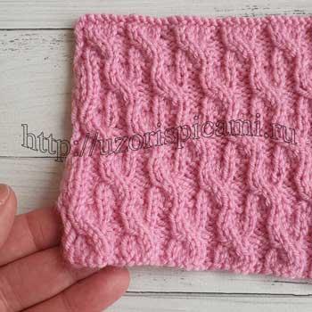 Простой узор спицами из кос для пуловера, жакета, схема узора