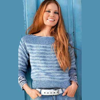Вязание для женщин. Меланжевый пуловер спицами из волнистого узора