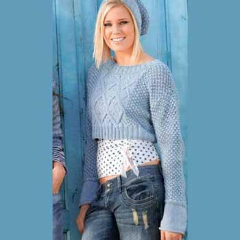 Вязание для женщин. Короткий пуловер и шапочка спицами